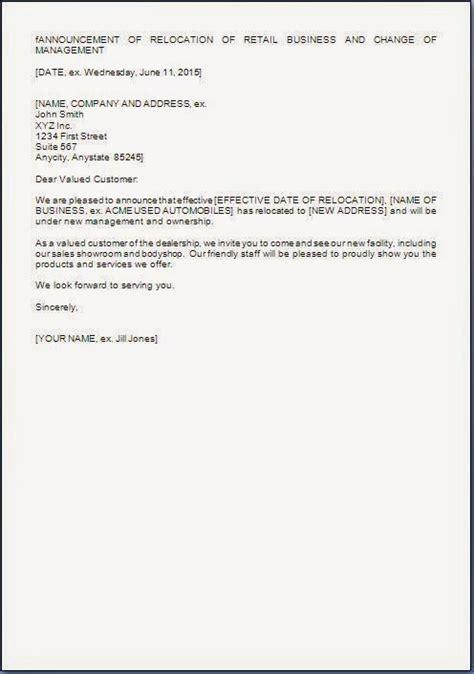 management change letter format  customers