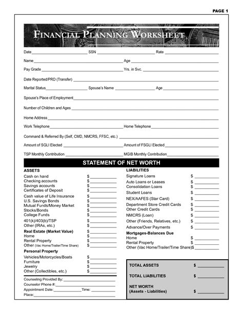 financial math worksheets free personal finance planning