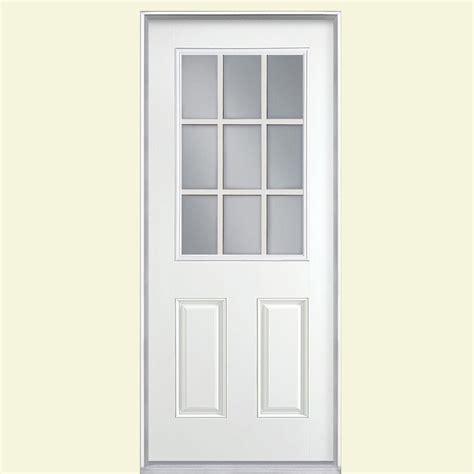 home depot prehung exterior door masonite 36 in x 80 in 9 lite primed smooth fiberglass