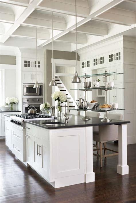 coffered kitchen ceiling transitional kitchen - Standalone Kitchen Island