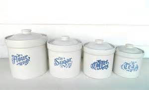 blue and white kitchen canisters vintage kitchen canister set blue white pfaltzraff yorktowne