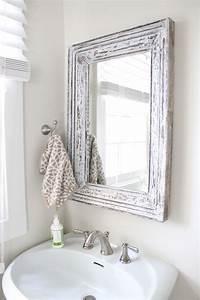 Rustic bathroom mirror use molding and distress to frame for Molding around mirror bathroom