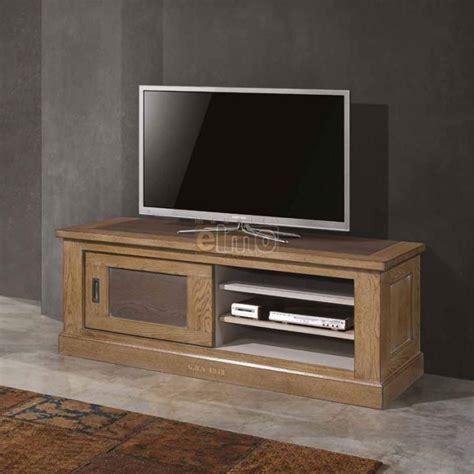 meuble tv  chene massif de france  porte coulissante