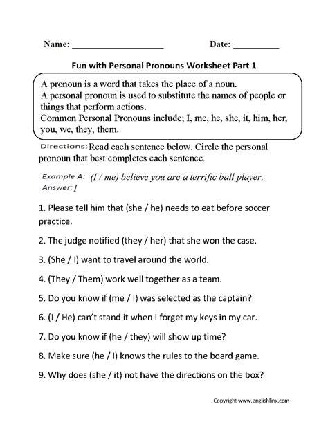 worksheet pronoun practice worksheet worksheet