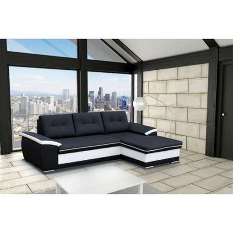 canapé d angle convertible simili cuir meublesline canapé d 39 angle moderne 4 places noir