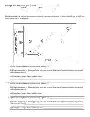 Heatingcurvewrkshtv2  Heating Curve Worksheet(ver 2 Name Period Date The Diagram Below Is A