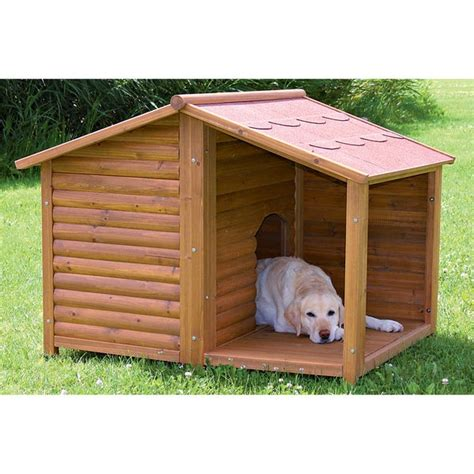 rustic large outdoor  weather durable covered porch wood pet kennel dog house ebay