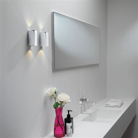 astro bloc led polished chrome bathroom wall light at uk
