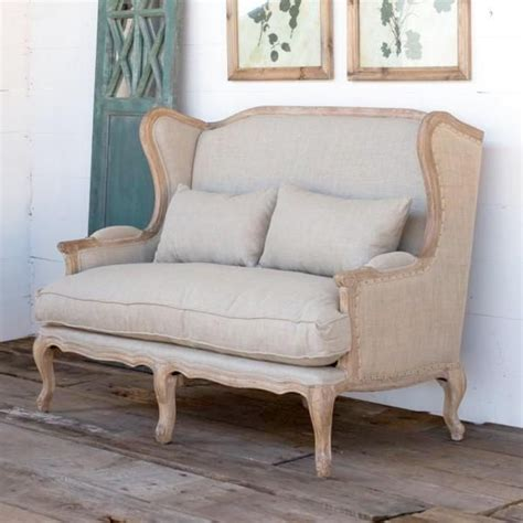 Shabby Chic Settee Furniture by Bayard Burlap And Linen Wing Back Settee En 2019 Living
