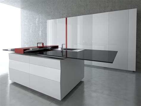 Lacquered Kitchen With Island Prisma By Toncelli Cucine