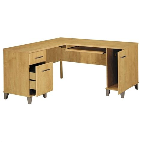 bush somerset desk 60 bush somerset 60 quot l shape wood computer desk in maple