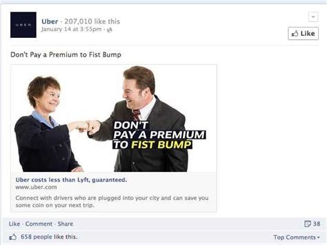 Uber Takes Aim At Lyft In Facebook Ad