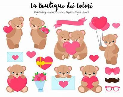 Clip Teddy Clipart Bear Heart Valentine Valentines