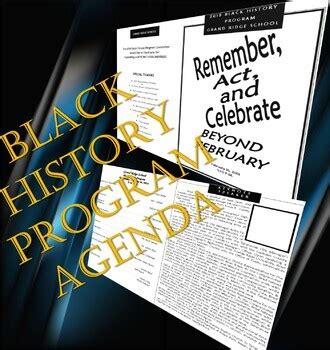 black history month program agenda  editabletemplate