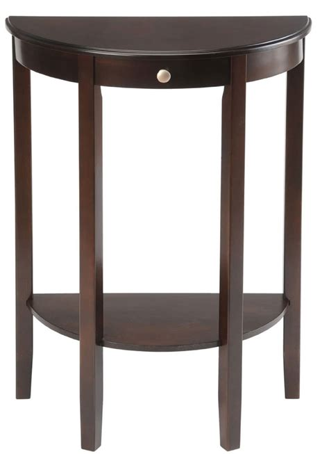 half circle console table with drawers half round console table with drawers simplicity walnut