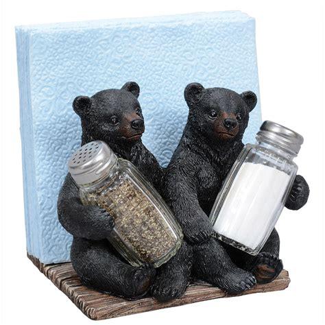 bear cubs salt pepper napkin holder set