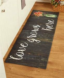 55, U0026quot, Comfortable, Cushioned, Kitchen, Runner, Rug, Mat, Country, Farm, Chef, Love, Flower