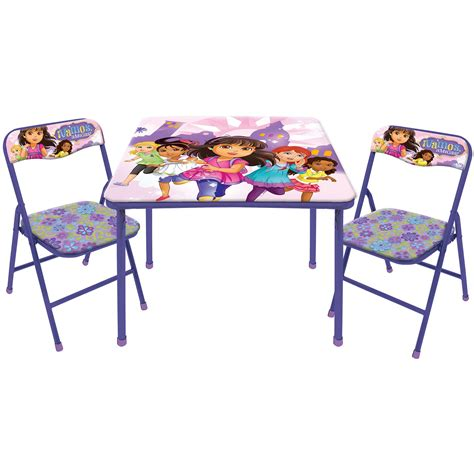 disney and nickelodeon character table and 2 chairs