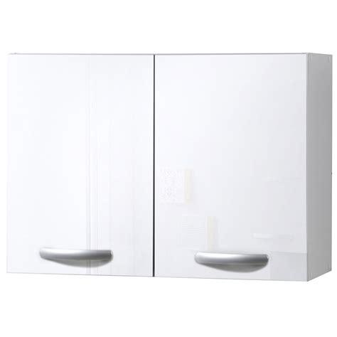 meuble de cuisine haut 2 portes blanc brillant h57 9x