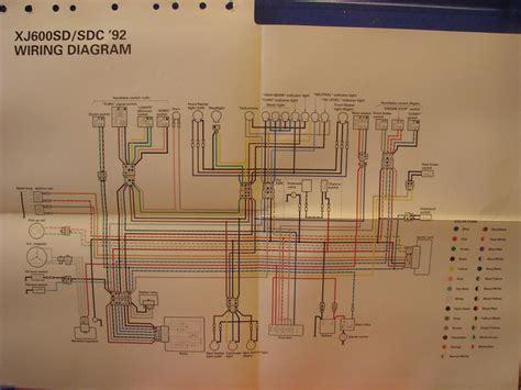 nos yamaha factory wiring diagram 1992 xj600 sd xj600 sdc ebay