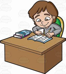 A Girl Studying Happily Cartoon Clipart - Vector Toons