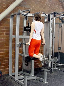 assisted triceps dip machine exercise demonstration