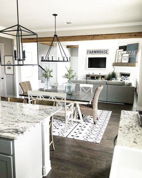 farmhouse style open layout  kitchen dining room
