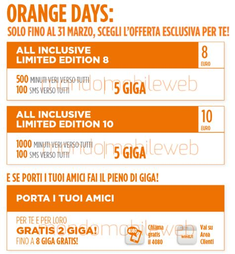 Wind Offerte Mobile Ricaricabile by Wind Orange Days Offerte All Inclusive Limited Edition