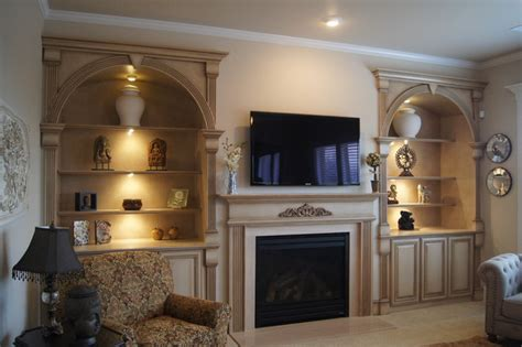 bookcases  fireplace mantels traditional family