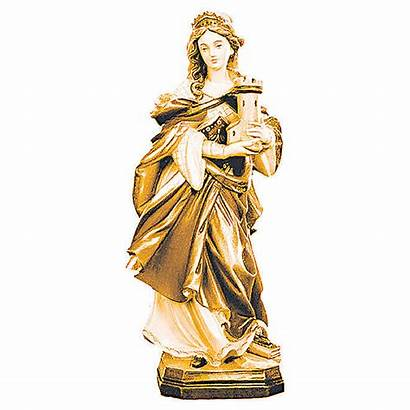 Bois Nuances Marron Sainte Barbara Statue Holyart