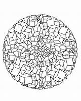 Coloring Mandala Drawing Patterns Cubes Geometric Adult sketch template