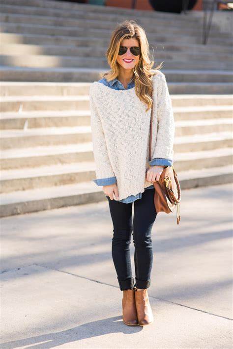 sweaters to wear with how to wear a denim shirt 13 ways to style chambray
