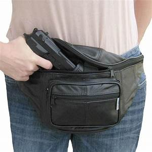 Leather CCW Concealed Fanny Pack w/ Gun Holster, Mens ...