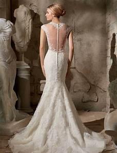 Robe de mariee dos nu semi nu et en dentelle 70 designs for Robe de mariée dentelle dos