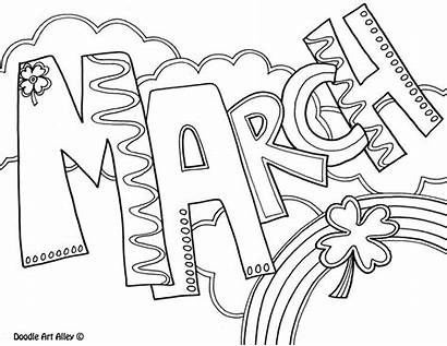 Coloring Calendar Adult Month March Printable Colouring