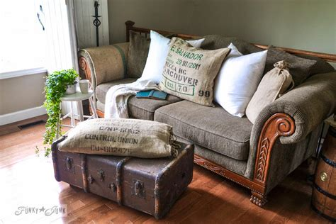 No Sew Burlap Coffee Bean Sack Sofa Pillowsfunky Junk Interiors. Small Bathroom Remodel. White Fireplaces. Nailhead Dining Chair. Two Person Desk. Nicely Done Kitchens. Interior Design Austin. Alcohol Fireplace. Pub Table And Chairs