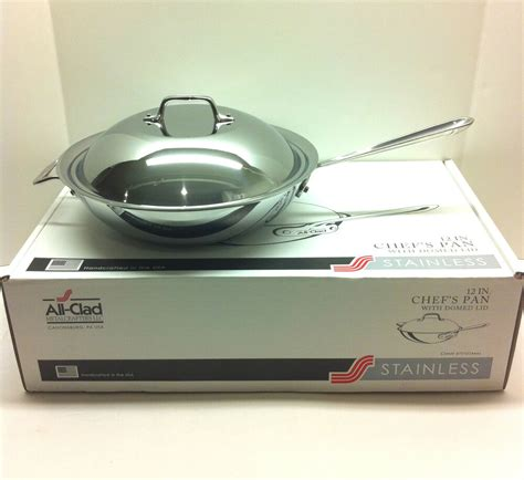clad stainless   chefs pan  qt  domed lid  wok   box ebay