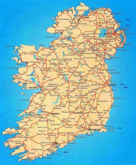 large scale road map  ireland ireland europe