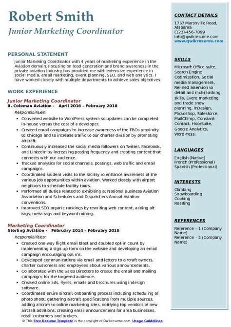 Marketing Coordinator Resume Summary by Marketing Coordinator Resume Sles Qwikresume