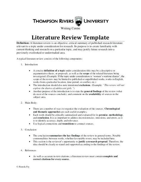 literature review outline  literature review outline template