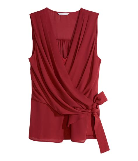 chiffon blouses h m sleeveless chiffon blouse in lyst
