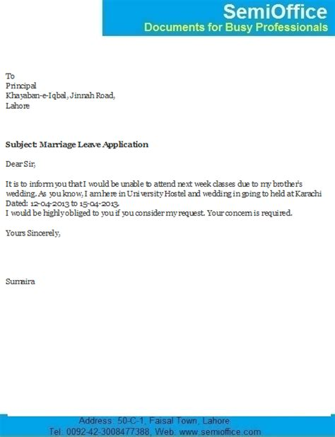 leave application letter  brother marriage south