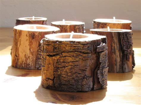 Candles For Home Decor: 6 Woodland DRIFTWOOD Candle Holders . Eco Friendly Home Decor