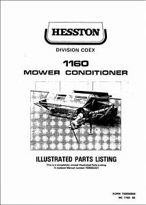 Hesston 1160 Parts Manual For Mower Conditioner Service