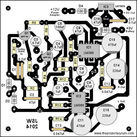 electric bass guitar headphone amp schematic diagram