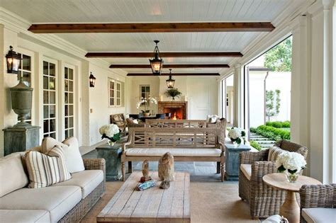 long covered patio features beadboard ceiling dotted