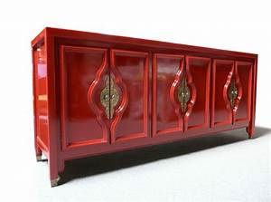 RED LACQUERED SIDEBOARD MID CENTURY MODERN HOLLYWOOD