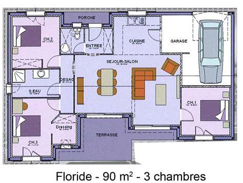 plan de chambre avec dressing et salle de bain modèle et plans floride 3ch du constructeur maisons sic