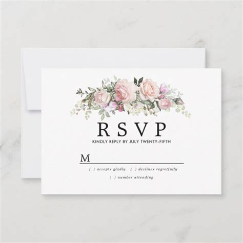 Rustic Blush Pink Floral Wedding RSVP Zazzle com