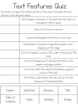 text features cut paste quizzes by kmwhyte s kreations teachers pay teachers